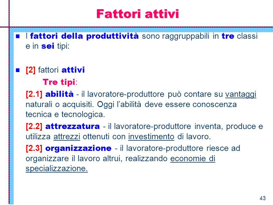 Fattori attivi I fattori della produttività sono raggruppabili in tre classi e in sei tipi: [2] fattori attivi.